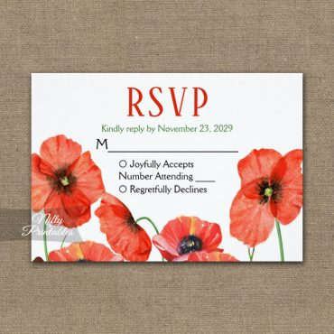 Poppies Floral RSVP Card Wedding Response PRINTED