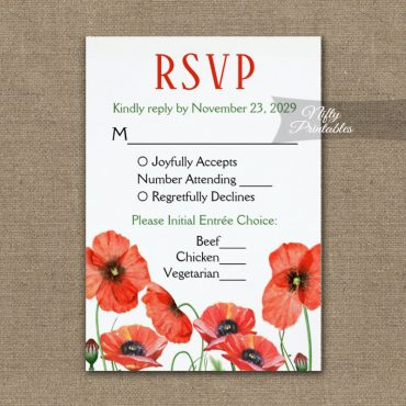 Poppies Floral RSVP Card w/ Meal Choices PRINTED