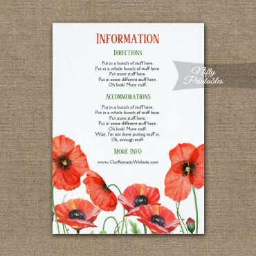 Poppies Floral Wedding Details Info Card PRINTED