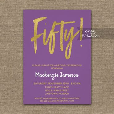 50th Birthday Invitation Purple Gold Script PRINTED