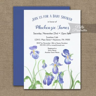 Baby Shower Invitations Purple Iris Floral PRINTED