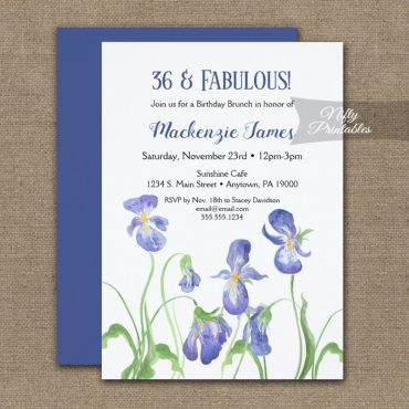 Birthday Invitation Purple Iris Floral PRINTED