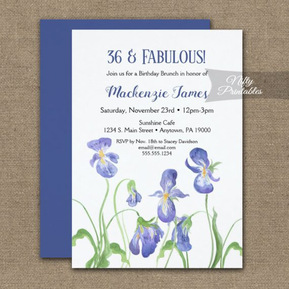 Birthday Invitation Purple Iris Floral PRINTED