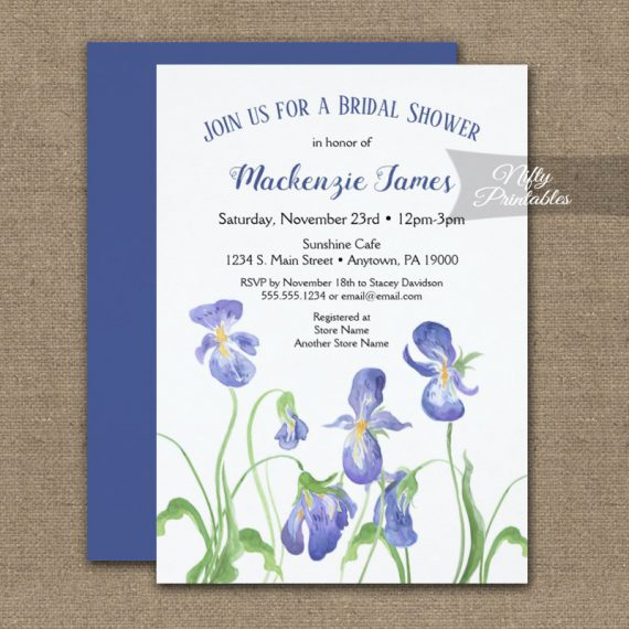 Bridal Shower Invitation Purple Iris Floral PRINTED