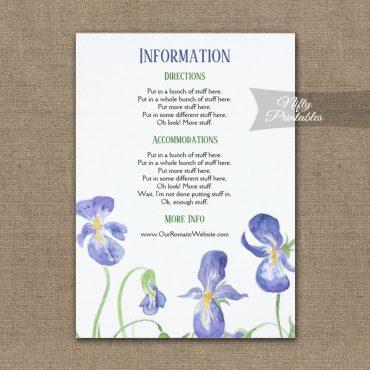 Purple Iris Floral Wedding Details Info Card PRINTED