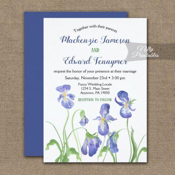 Wedding Invitation Purple Iris Floral PRINTED