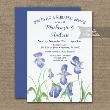 Rehearsal Brunch or Dinner Invitation Purple Iris Floral PRINTED