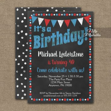 Birthday Invitation Red Blue Chalkboard PRINTED