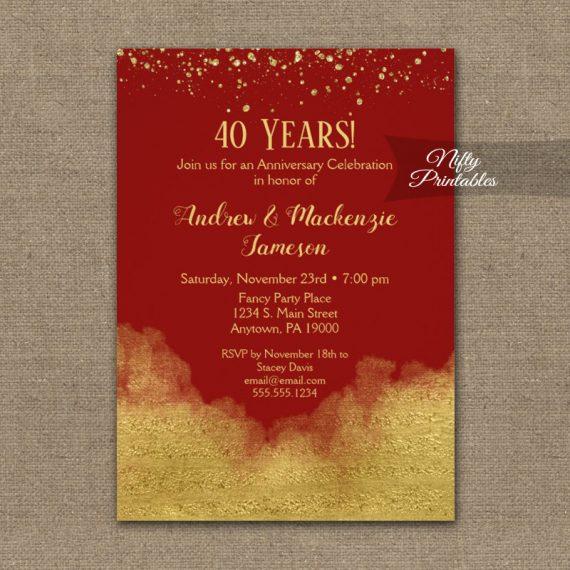 Anniversary Invitation Gold Confetti Glam Red PRINTED