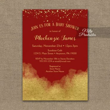 Baby Shower Invitations Gold Confetti Glam Red PRINTED