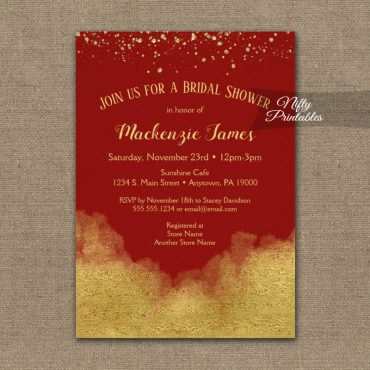 Bridal Shower Invitation Gold Confetti Glam Red PRINTED
