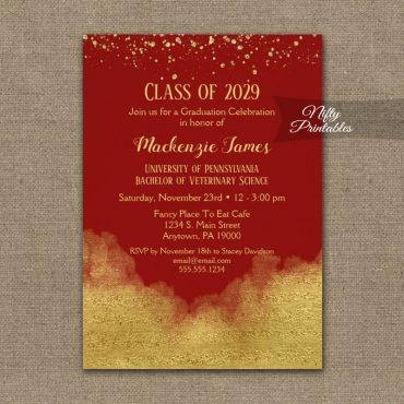 Graduation Party Invitation Gold Confetti Glam Red PRINTED