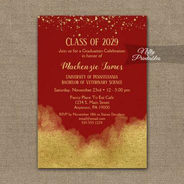Graduation Party Invitations Gold Confetti Glam Red PRINTED