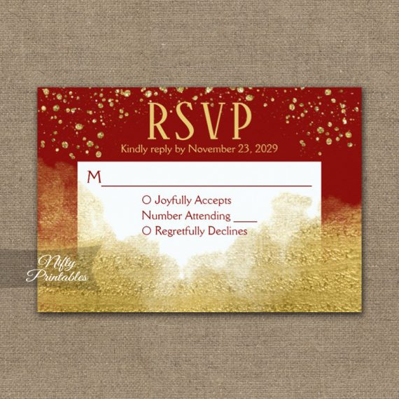 Gold Confetti Glam Red RSVP Card Wedding Response PRINTED