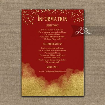 Gold Confetti Glam Red Wedding Details Info Card PRINTED