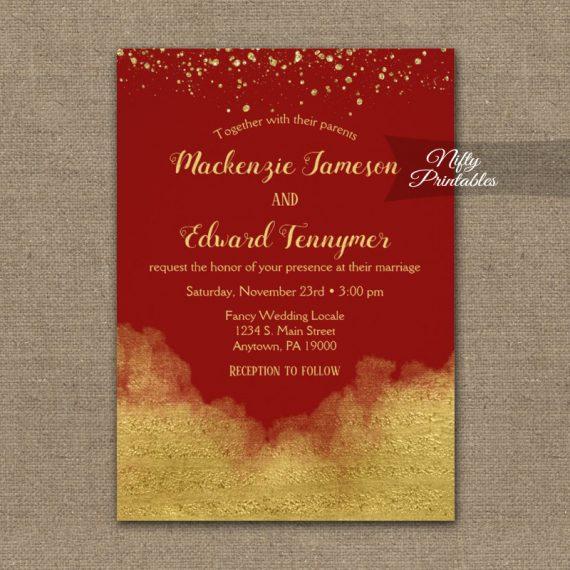 Wedding Invitation Gold Confetti Glam Red PRINTED