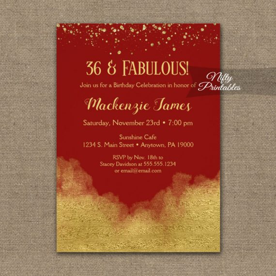 Birthday Invitation Gold Confetti Glam Red PRINTED