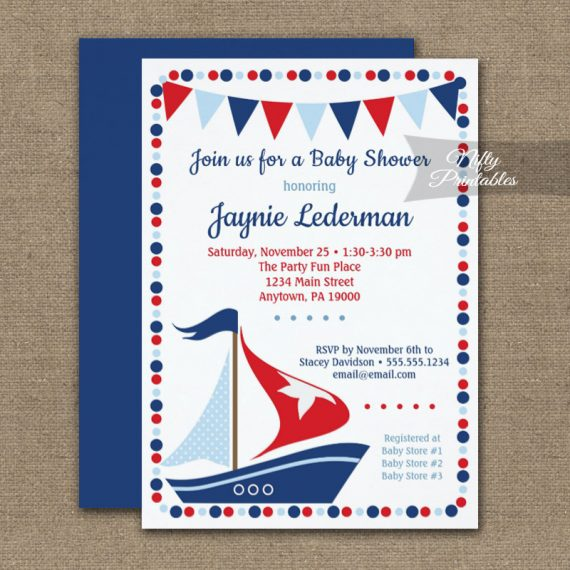 Baby Shower Invitation Sailboat Cute PRINTED