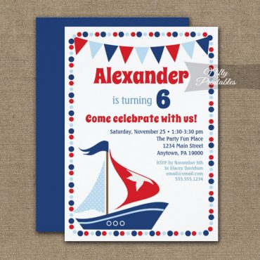 Birthday Invitation Sailboat Cute PRINTED