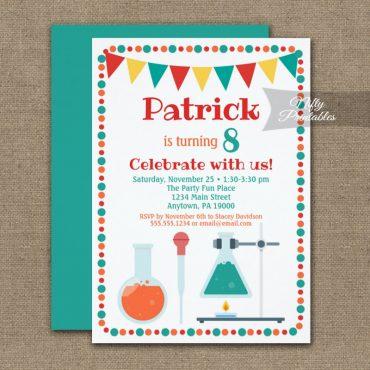 Birthday Invitation Science Cute PRINTED