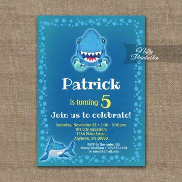 Birthday Invitations Funny Sharks PRINTED