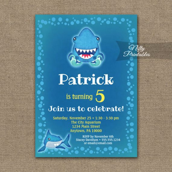 Birthday Invitation Funny Sharks PRINTED
