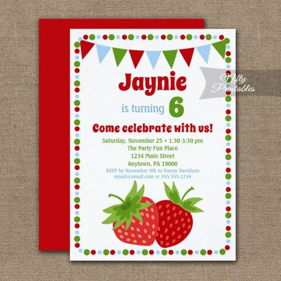 Birthday Invitation Strawberry Cute PRINTED
