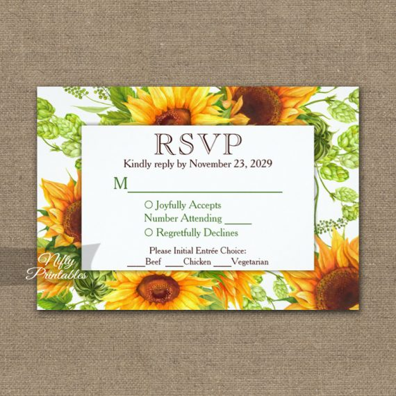 Sunflowers Floral RSVP Card w/ Meal Choices PRINTED