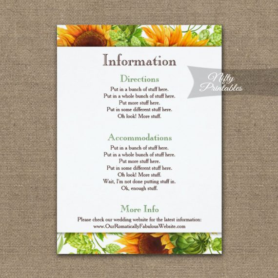 Sunflowers Floral Wedding Details Info Card PRINTED