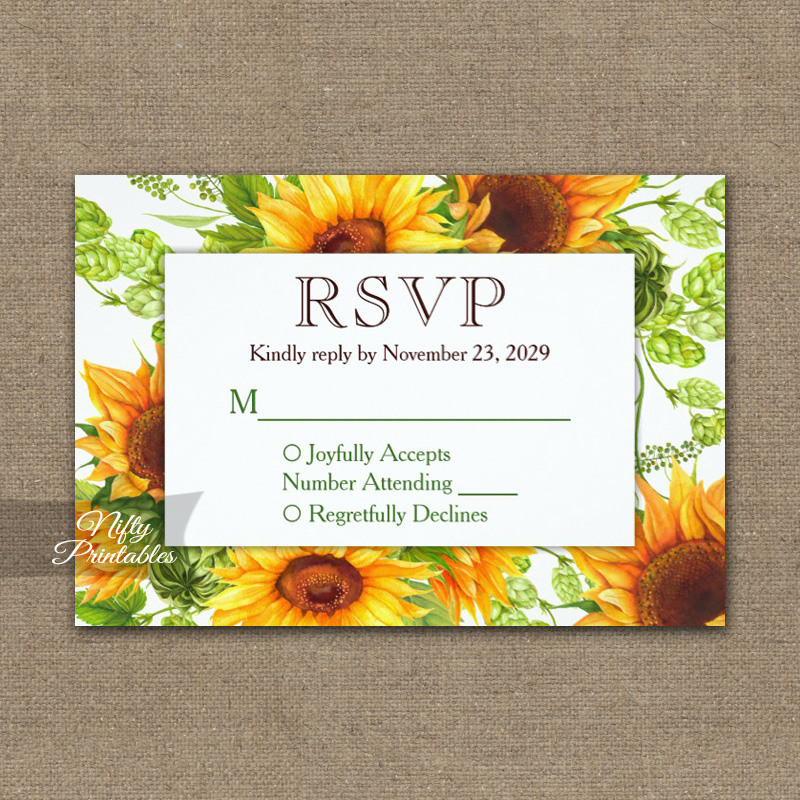 Sunflowers Floral RSVP Card Wedding Response PRINTED