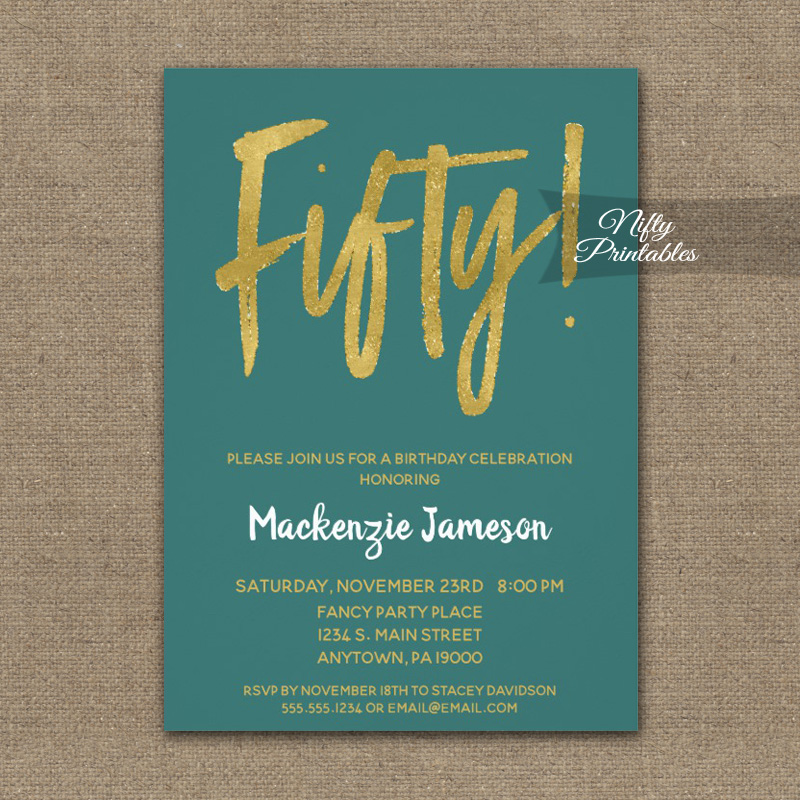 50th Birthday Invitation Teal Gold Script PRINTED