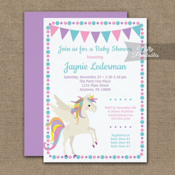 Baby Shower Invitation Unicorn Cute PRINTED