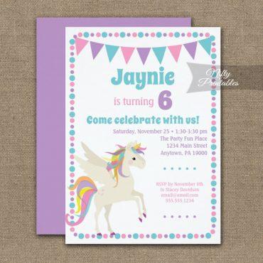 Birthday Invitation Unicorn Cute PRINTED