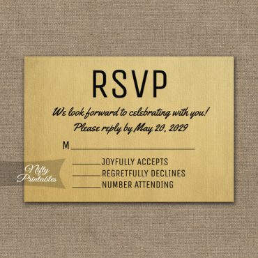 Vintage RSVP Card Wedding Response PRINTED