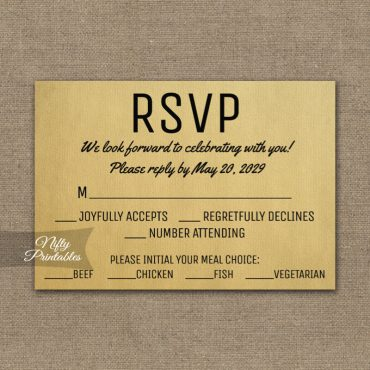 Vintage RSVP Card w/ Meal Choices PRINTED