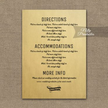 Vintage Wedding Details Info Card PRINTED