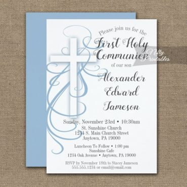 First Holy Communion Invitation White Swirly Cross Blue PRINTED