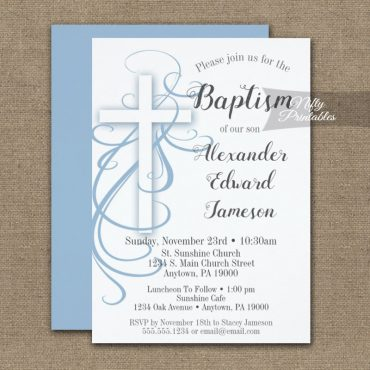 Baptism Invitation White Swirly Cross Blue PRINTED