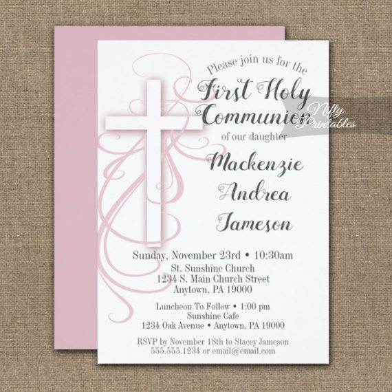 First Holy Communion Invitation White Swirly Cross Pink PRINTED