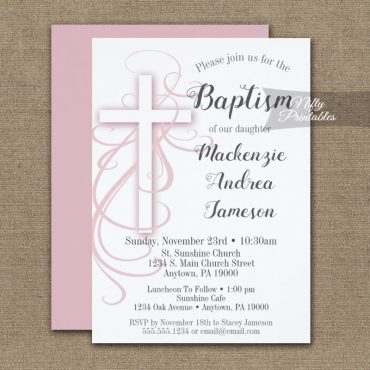Baptism Invitation White Swirly Cross Pink PRINTED