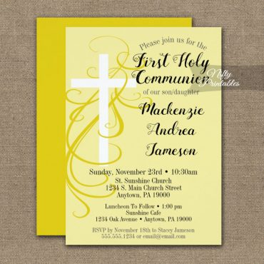 First Holy Communion Invitation Yellow Swirly Cross PRINTED