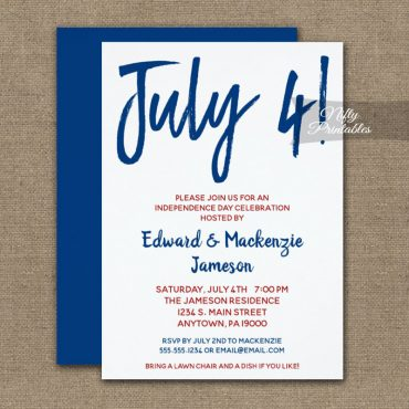 4th Of July Invitation White Red & Blue PRINTED