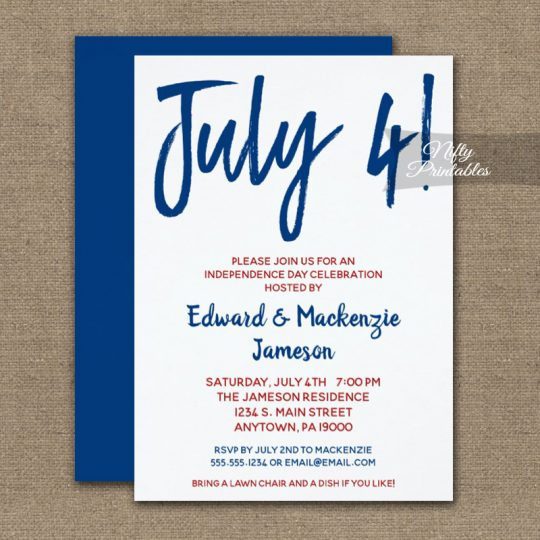 4th Of July Invitations White Red & Blue PRINTED