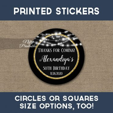 Birthday Stickers Black Gold Glowing Lights Thank You Favors PRINTED