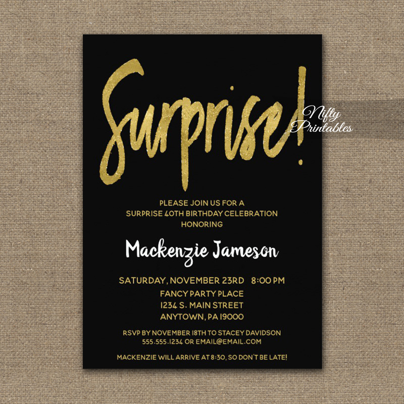 surprise birthday party invitation black gold script printed nifty