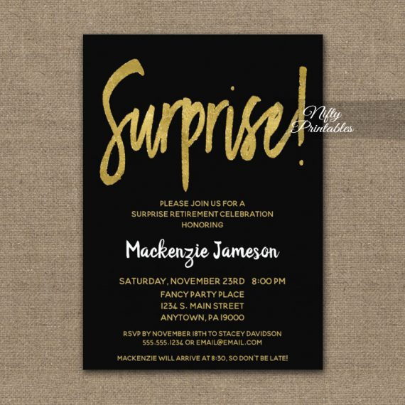 Surprise Retirement Invitation Black Gold Script PRINTED