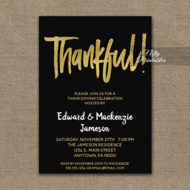 Thanksgiving Invitation Black Gold Script PRINTED