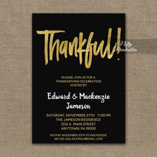 Thanksgiving Invitations Black Gold Script PRINTED