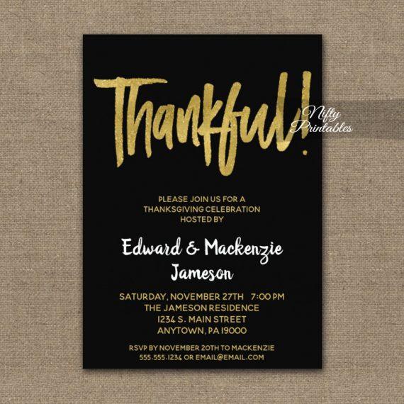 Thanksgiving Invitation Black Gold Script PRINTED