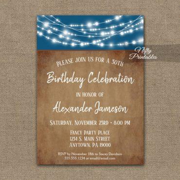 Men's Birthday Invitations Blue Brown Lights PRINTED